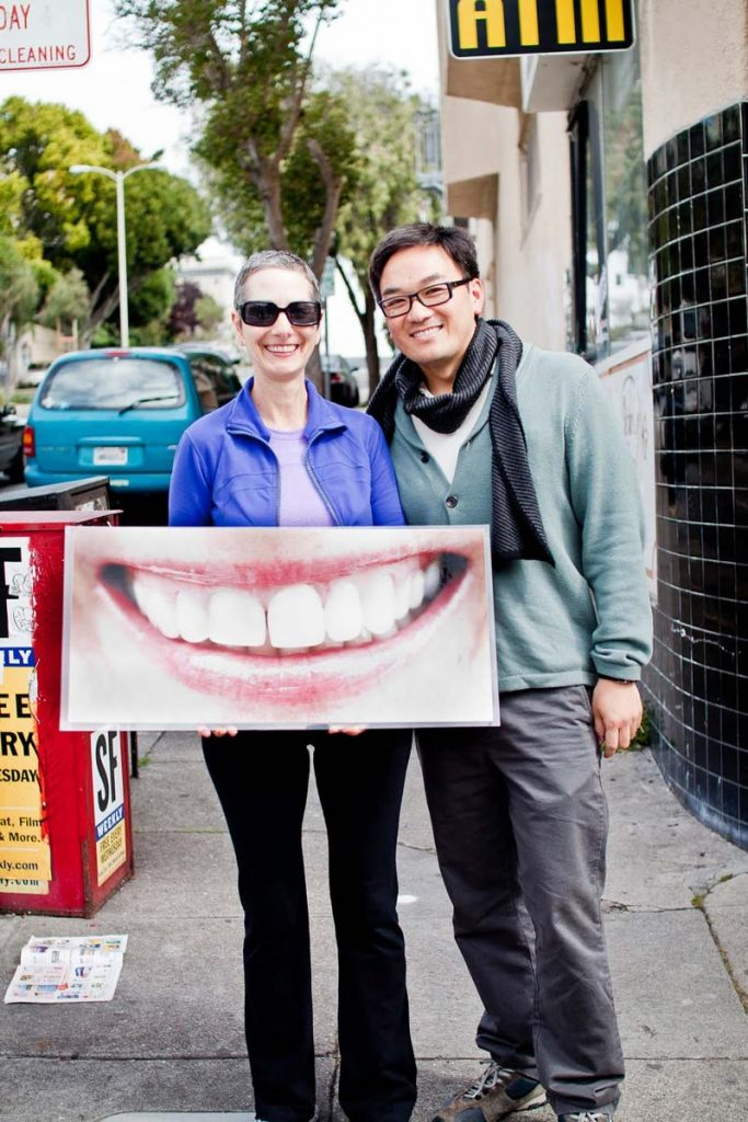 Claire Lemmel and Toan beaming in San Francisco.