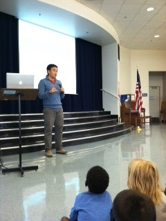 Toan Lam sharing about Community Heroes at Sun Valley Elementary School.