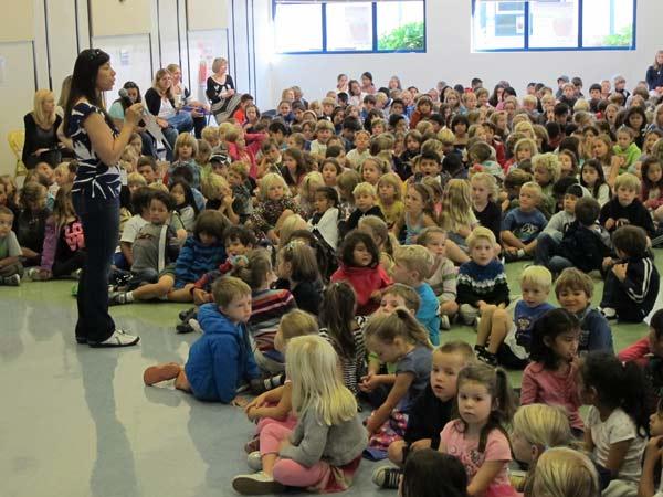 Sun Valley Principal Julie Harris speaking to students.