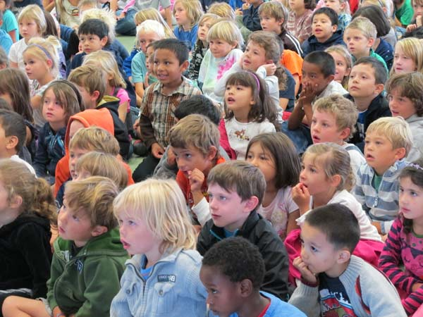 Sun Valley Elementary School students captivated by the Community Heroes presentation.