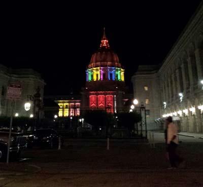 San Francisco City Hall in rainbow lights