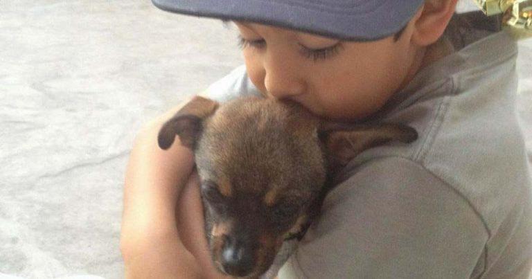 Nico Castro and his puppy
