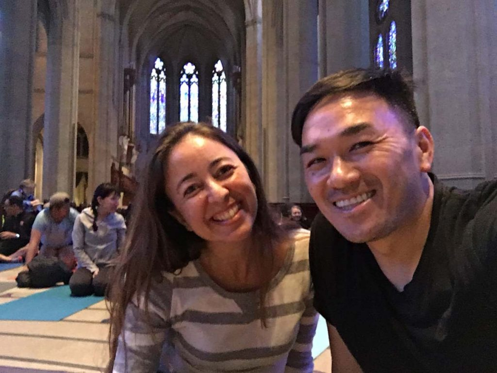 """""""Yoga on the Labyrinth"""" at Grace Cathedral in San Francisco"""