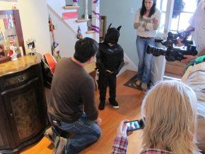 Nico in a Batman costume