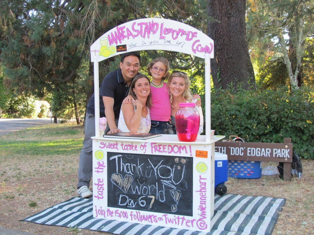 "Toan, Vivienne Harr's mother Alexandra, Vivienne and Jen at ""Make a Stand Lemonade"""