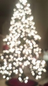 Lights on Christmas tree.