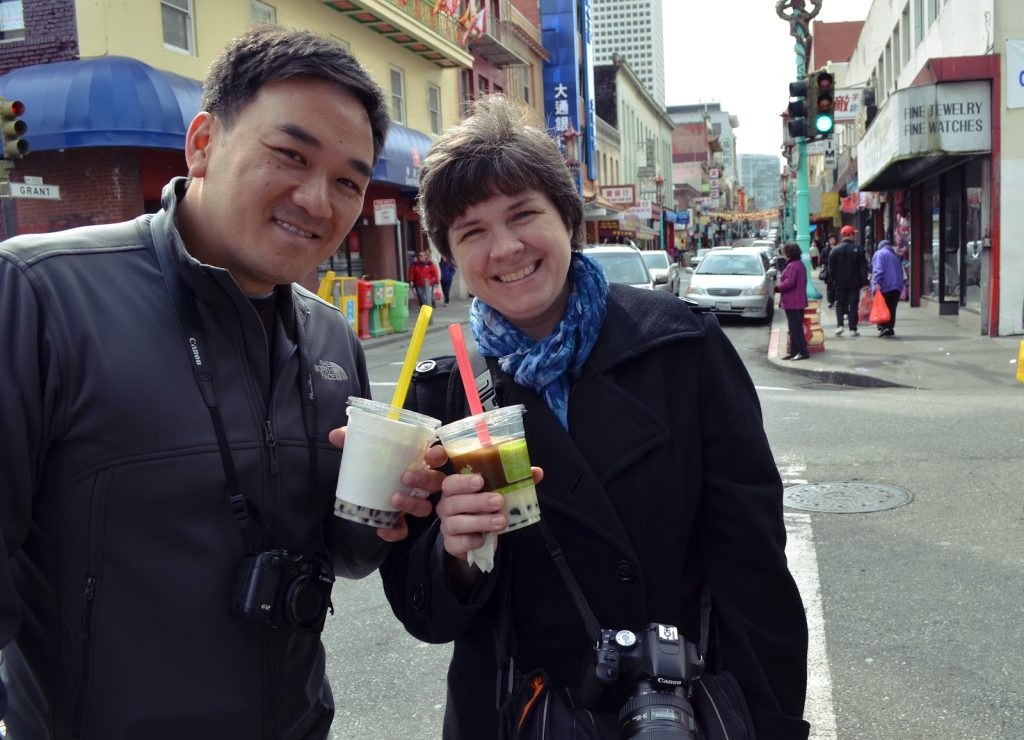 Toan and Kat with boba tea