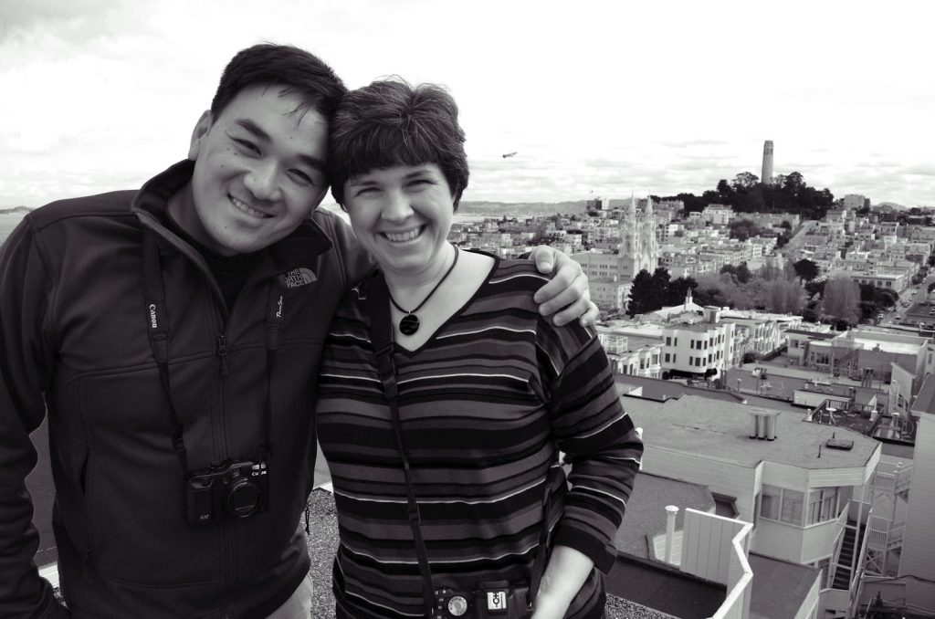 Black and white photo of Toan and Kat
