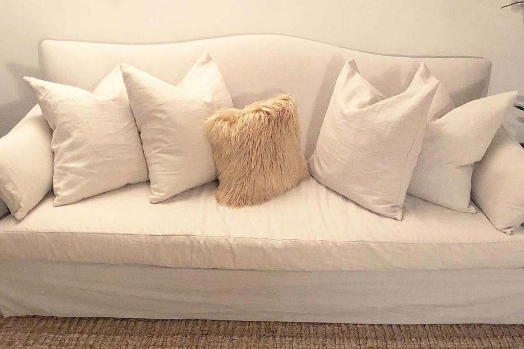 Sofa with custom-designed pillows